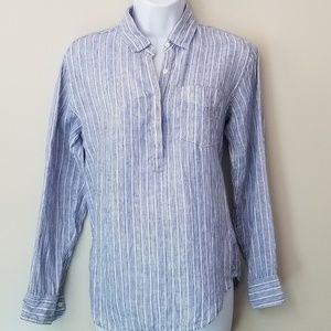 Gap Boyfriend Striped Popver Linen Shirt
